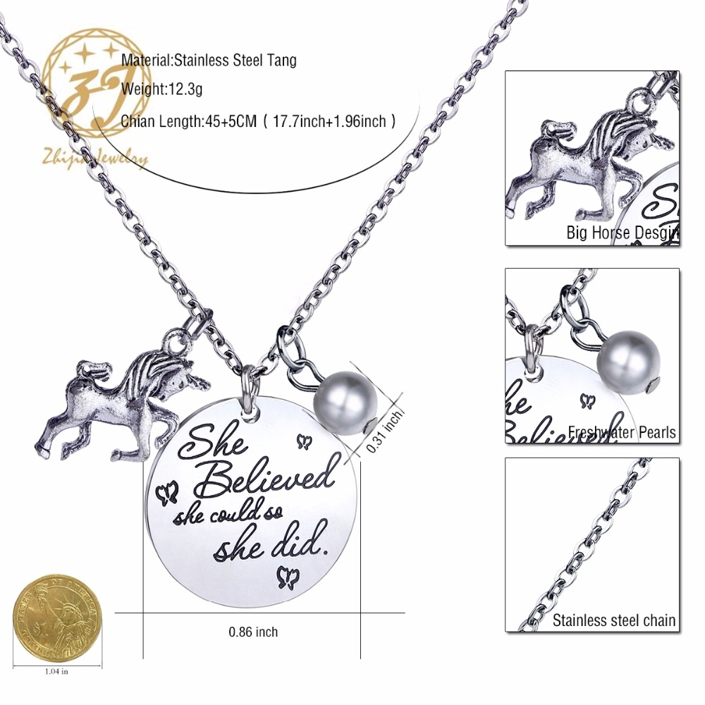 "Zhijia Jewelry 316L Stainless Steel Letter Tag Necklace""She Believed She Could So She Did""With Horse And Pearl Pendant Free Ship"