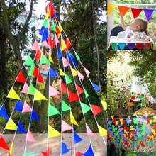 50m Colorful Triangle Hanging Flags String Banner Birthday Festive Party Decor Kindergarten Camping Site Decoration Buntings(China)