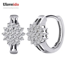 Uloveido Silver Trendy Rhinestone Flower Earrings for Women with Stone Earings Fashion Jewelry 2017 New Dropshipping BME179