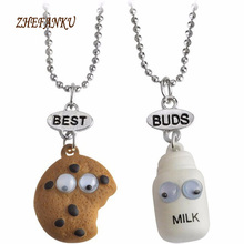 Miniature Cookies Biscuit Milk BEST BUDS Pendant Necklaces Friendship Creative Jewelry Christmas Gift Birthday(China)