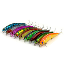9PCs Fake Fishing Bait Minnow Fishing Lure Laser 3D Eyes Hard Artificial Great Discount Retail Wobblers Fishing Gear 13cm(China)