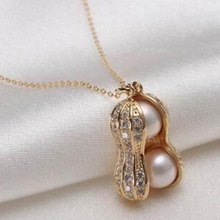 Buy New Design Simulated Pearl Peanut Pendant Necklaces Short Style Women Jewelry Necklace Trendy Plant Accessories Neck Chain for $1.48 in AliExpress store