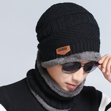 Fashion Beanie Men Winter Warm Faux Fur Lined Baggy Hat Neckerchief Scarf Cap(China)