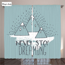 Hooks Hanging Curtains Living Room Bedroom Mountain Peaks Goal Possible Office Light Green White 2 Panels Set 145*265 sm