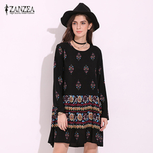 ZANZEA Boho Womens Floral Print O Neck Spring Long Sleeve Party Casual Mini Dress Summer Beach Rayon A Line Vestidos Plus Size(China)