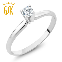Charles & Colvard 4mm 0.25ct Moissanite Ring 14K White Gold Engagement Wedding Solitaire Rings For Women(China)