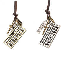 Retro Leather Rope Necklace Long Lucky Wishful Abacus Leather Cord Necklace Male Pendant Necklace Male Jewelry Accessories