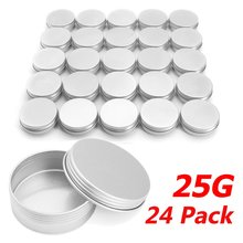 Cream Cosmetic Boxes 24pcs/lot Jars Aluminium 25g 0.9 Ounce 39*20mm Screw On Lids With Lid Case Jar Tins Lip Balm Container(China)