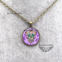MAZZ-0143 sugar skull purple/green NECKLACE day of the dead necklaces handmade jewelry jewelry accessories