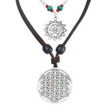 MJARTORIA Fashion 2PCs/set 50cm 80cm Choker Jewelry White K plated Hollow Design Flower Of Life Jewelry Pendant Necklace