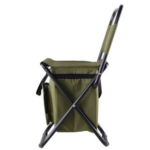 New Portable 28 x 29 x 60cm Fishing Chair With Storage Cool Bag Steel Pipe Frame Polyester Chairs Stool Outdoor Sports Tool(China)