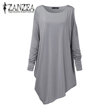 Buy ZANZEA 2017 Women Club Party Vestido Solid Cold Shoulder Long Sleeve Loose Blusas Autumn Fashion Irregular Casual Mini Dress for $10.57 in AliExpress store