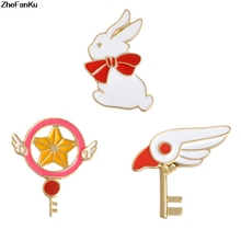 New China Fashion Jewelery Japan Anime Cartoon Star Sticks Birds Sticks Uniforms Drops White Rabbit Breast Badges Wholesale(China)