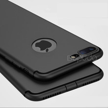 Luxury Back Matte Soft Silicon Case For iPhone 7 Plus Case For iPhone 7 Phone Case Anti-fingerprint Full Cover Black TPU Shell(China)