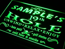pi-tm Name Personalized Custom Golf 19th Hole Bar Beer Neon Sign with On/Off Switch 7 Colors 4 Sizes