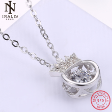 INALIS 925 Sterling Silver Necklace Crystal Crown Pendant Necklace For Women Girl Female Jewelry Wedding Gift(China)