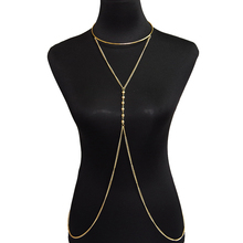 lureme Simple Beach Jewelry Golden Metal Chain Crossover Body Chain Necklace Jewelry for Women Sexy Bikini Accessories(01004125)