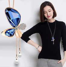 3COLOR New Sale Maxi Necklace Tower Wholesale Fashion Jewelry Crystal from Swarovski beaded Flowers Woman Party(China)