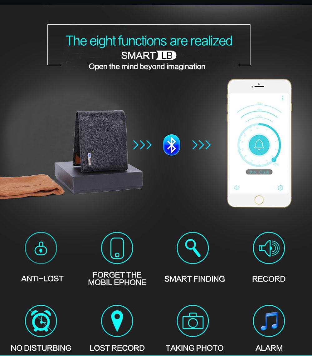 محفظة جلدية ذكية مضادة للضياع مع جهاز تتبع مربوط بالهاتف عبر البلوتوث 2