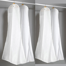Wedding Dresses Dust Cover 170cm Storage Bag Non-Woven Fabric Plastic Double Side Garment Proof Bags For Clothes Trailing Tail(China)