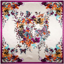 90cm*90cm Butterfly and Hand Painted Flower women silk satin large square scarf(China)