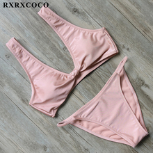 Buy RXRXCOCO Sexy Push Bikini 2019 Halter Hollow Swimwear Women Swimsuit Solid Biquinis Beachwear Female Bathing Suit Sunbath