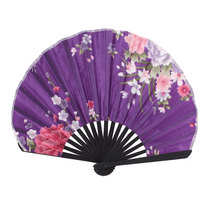 Uxcell Bamboo Rim Oriental Chinese Style Dancing Decor Folded Hand Fan Purple black | blue | fushcia | gray | pink | purple |