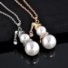Cute Snowman Pendant Long Necklace For Women Gold Silver Color Simulated Pearl Jewelry Santa Claus Christmas Gifts