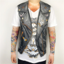 Funny Fake Leather Vest Printed Biker T Shirts for Men Cool Rider Tee with Patchwork Tattoo Pattern Long Sleeve Plus Size S-2XL(China)