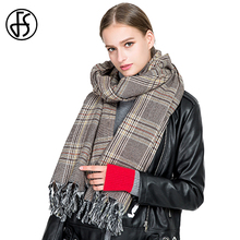 FS Women Soft Cashmere Scarf Winter Warm Blanket Fashion Oversize Shawls Wraps Plaid Long Wool Luxury Brand Scarves Pashmina(China)