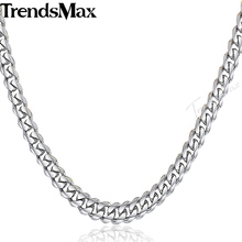 Trendsmax 3/5/7mm 55cm 60cm Stainless Steel Necklace for Men Silver Color Curb Cuban Link Chain KNM07(Hong Kong)