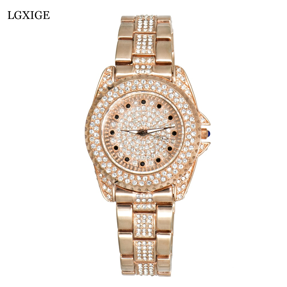LGXIGE Top brand Diamond Rose Gold Women Rhinestone Watch Female Fashion Steel Women Quartz Bling Dress Watch for Ladies Clock<br>