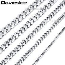 Davieslee Mens Necklace Chain Stainless Steel Gold Silver Black Tone Punk Wholesale Jewelry 3/5/7/9/11mm 18-36inch LKNM07(China)