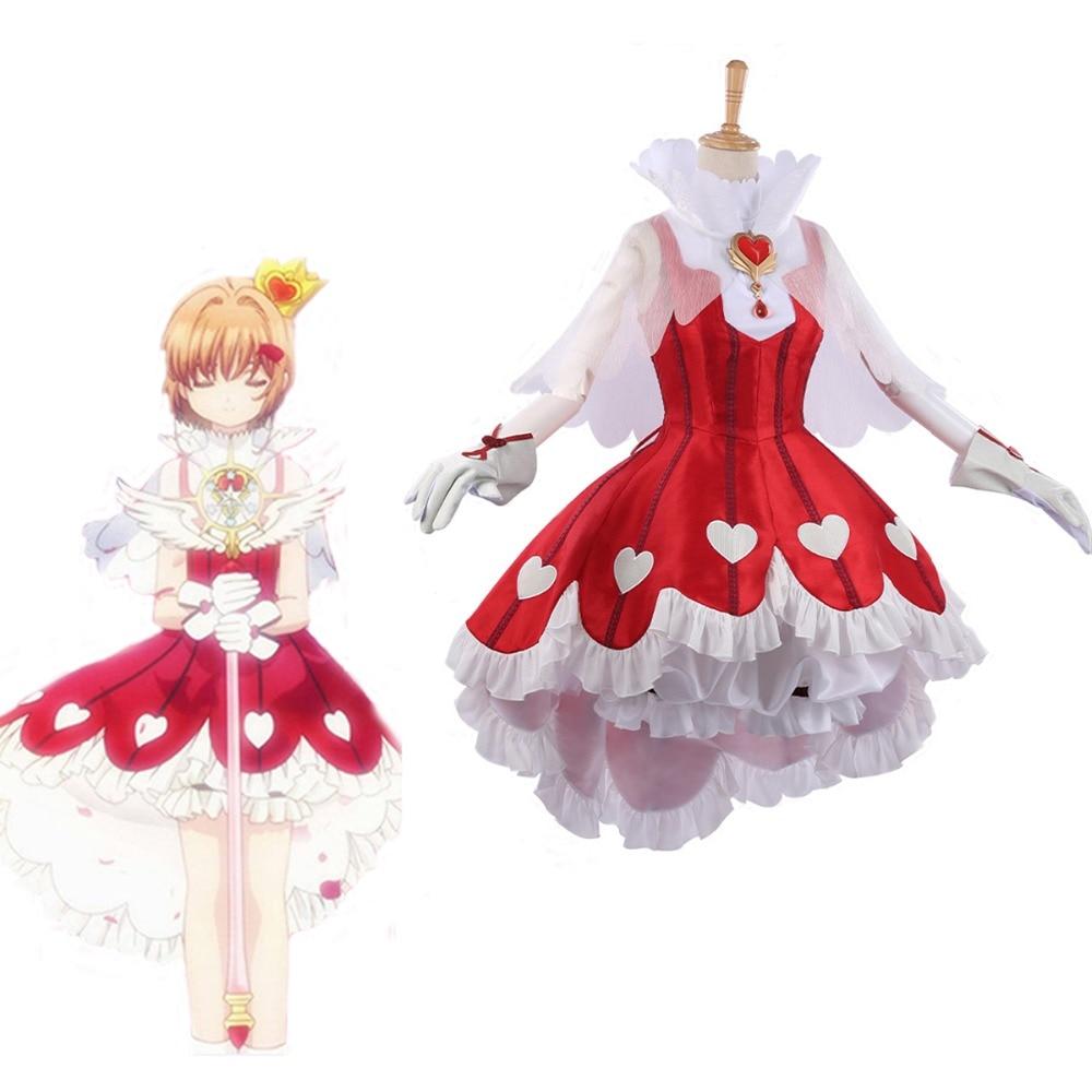 Card Captor SAKURA Transparent Card OP Rose Heart Fighting Dress Cosplay Costume