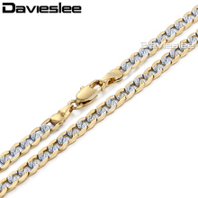 Davieslee Mens Womens Necklace Gold Filled Chain Curb Cuban Silver Gold Hip Hop Wholesale Jewelry 4mm LGN64(China)