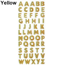 1 Sheet Glitter Alphabet Letter Stickers Self Adhesive ABC A-Z Words Stick On