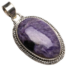 "StarGems(tm) Natural Charoite Handmade Mexican 925 Sterling Silver Pendant 2""(China)"
