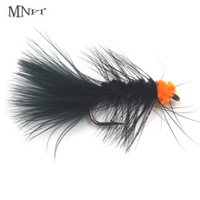 Artificial-Trout Fly-Fishing-Baits Egg-Sucking Flies Black MNFT Flashabou 10pcs Leech