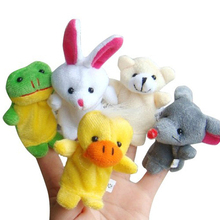 10PCS Cute Cartoon Animal Finger Puppet Plush Toys Child Baby Favor Dolls Boys Girls Finger Puppets Style Random(China)