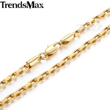 "Trendsmax Fashion Jewelry 3mm Mens Chain Boys Open Box Link Yellow Gold Filled Necklace Custom Length 18-36"" GN376"
