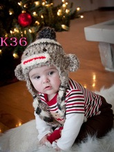 100% cotton Handmade multicolor soft monkey hat / knitting baby hats girl style/Crochet Beanie