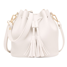 Women Retro Tassel Drawstring Faux Leather Shoulder Crossbody Bucket Bag Handbag(China)