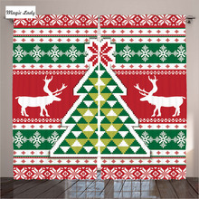 Curtains Horizontal Stripes Living Room Bedroom Christmas Knitting Pattern Tree Red Green White Lime 290x265 cm home