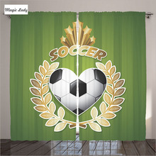 Curtains Green Soccer Football Athletic Sports Game Ball Wreath Olympic Player Decor Living Room Bedroom Golden 290x265 cm home