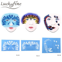 New Soft Reusable Makeup Template Face Paint Stencil Flower DIY Design Painting Tattoo Makeup Tool For Halloween Christmas(China)