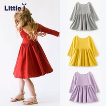 Little J Self Designed 0-8 Years Baby Girls Dress Kids Backless Long Sleeve Clothes Girls Autumn Pleated Princess Dresses Robe