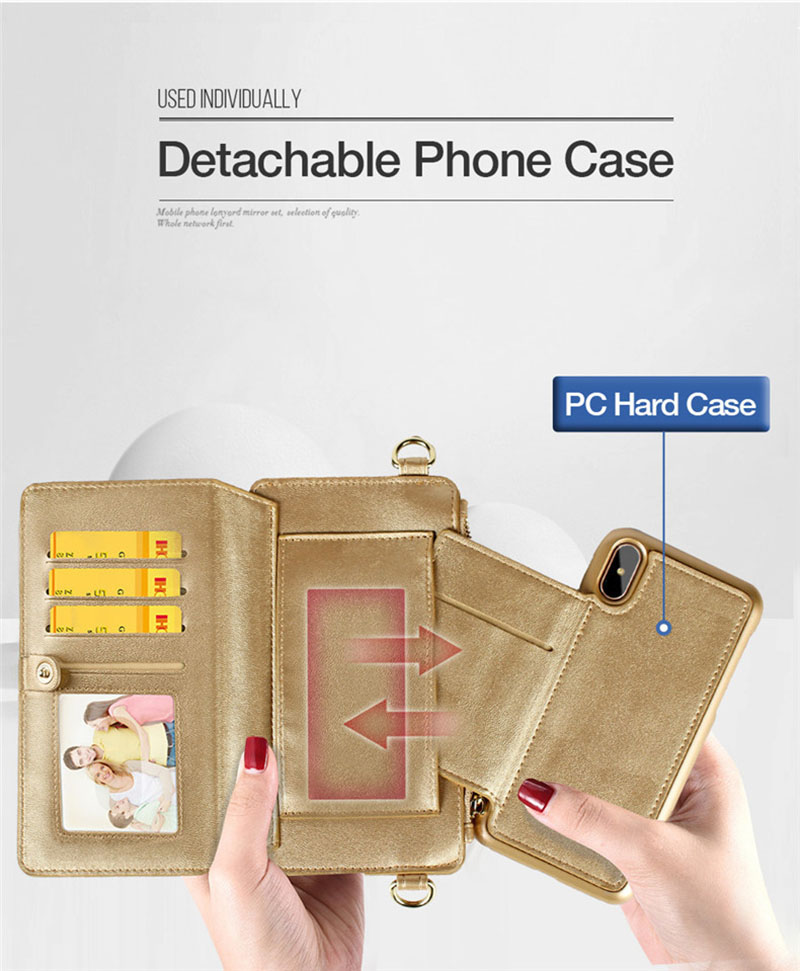 4 in 1 Leather Wallet Bag Case for iPhone X 6 6s 7 8 Plus Detachable Phone Cover Card Slot Girl Women Shoulder Bag Handbag Pouch (29)