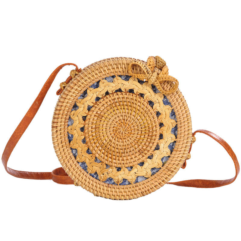 Women Straw Bags Female Round Beach Bag Knitted Lady Bohemian Vintage Rattan Shoulder Bag Handmade INS Popular Weave Bag SS3125 (5)