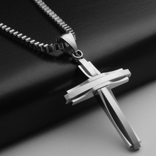 2017 Hip-Hop Jewelry Gift Men's Titanium Steel Fashion Cross Pendant Chain Necklace(China)