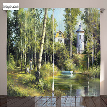 Curtains For Living Room Bedroom Rural Scenery Old House Lake Retro Tower Countryside Village GreenMagic Lady(Russian Federation)